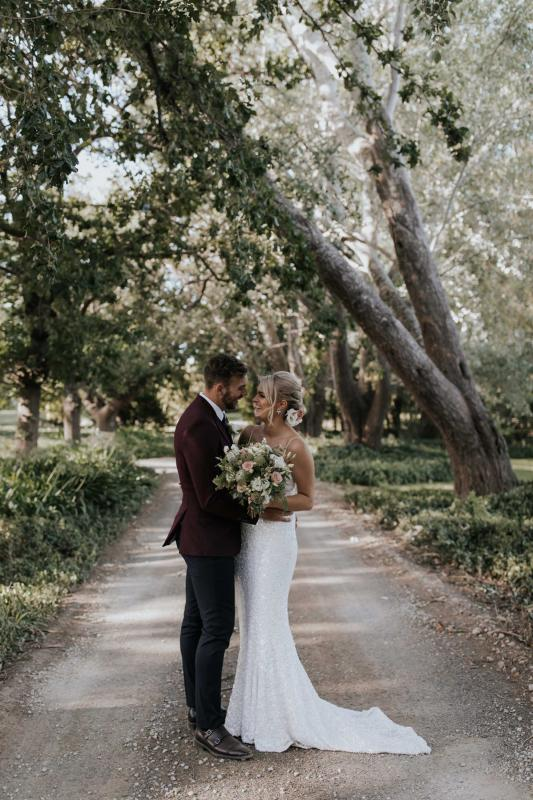 Real bride Claire wore the Luxe Lottie wedding dress by Karen Willis Holmes.