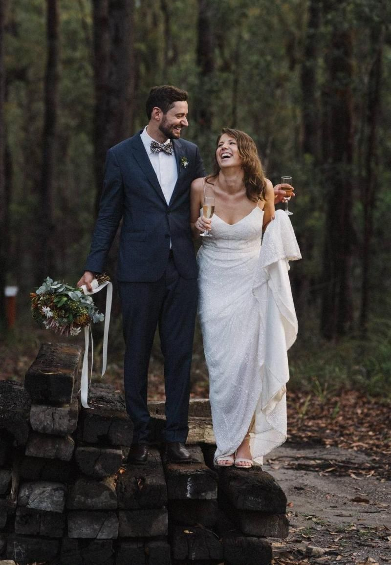 Real bride Jessie-Grace wore the Luxe Addison wedding dress by Karen Willis Holmes.