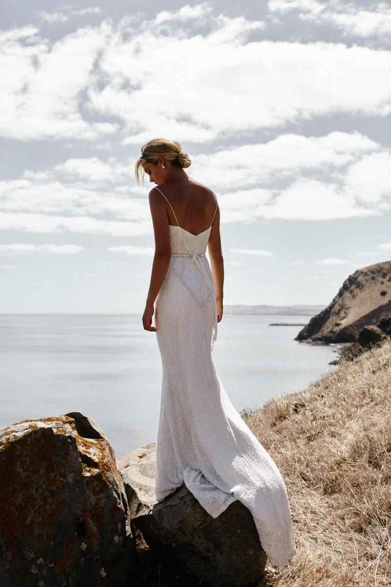 The Addison gown by Karen Willis Holmes, open back art deco beaded wedding dress.
