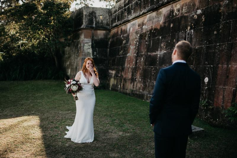 Real bride Sam wore the Wild Hearts Adina wedding dress by Karen Willis Holmes.