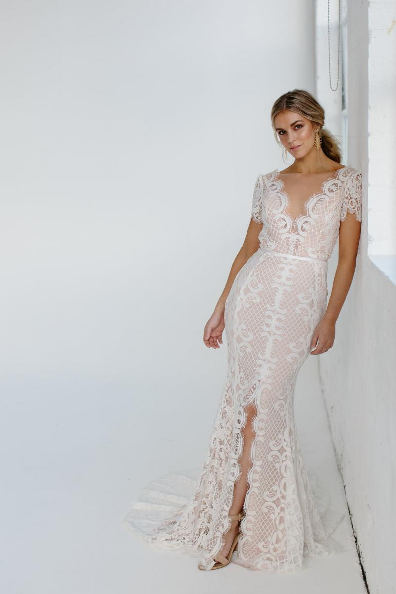 Aisling-pretty lace wedding dress by Karen Willis Holmes with nude base and cap sleeves