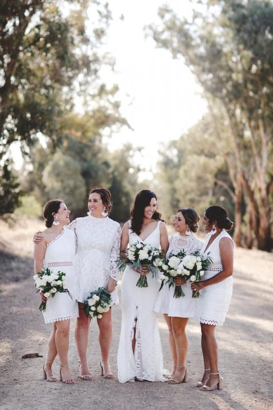 Real bride Gab wore the Wild Hearts Bobby wedding dress by Karen Willis Holmes.