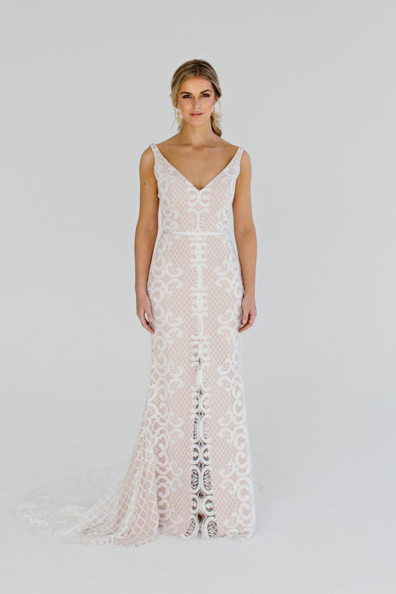 Bobby in nude colour way - lvory ace V neck gown with blush base layer by Karen Willis Holmes