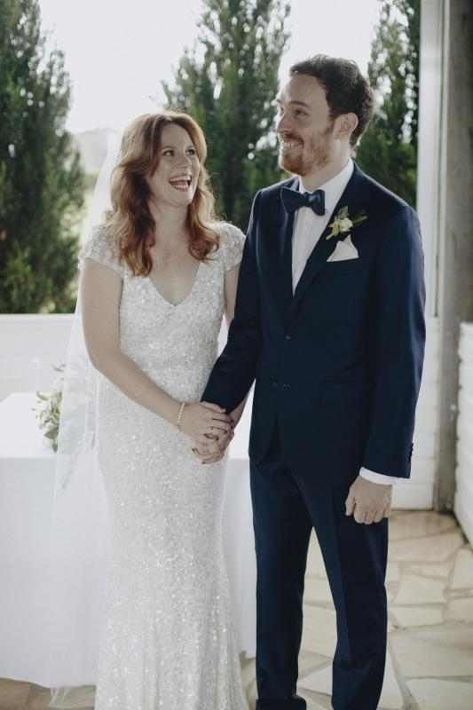Real bride Sophie wore the Luxe Caitlyn wedding dress by Karen Willis Holmes.