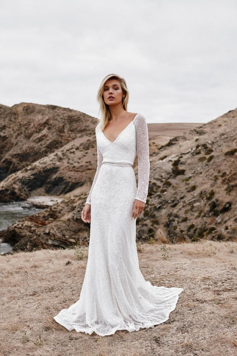 The Celine gown by Karen Willis Holmes, fit and flare beaded wedding dress.