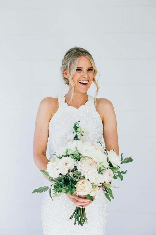 Real bride Holly wore the Luxe Cindy wedding dress by Karen Willis Holmes.