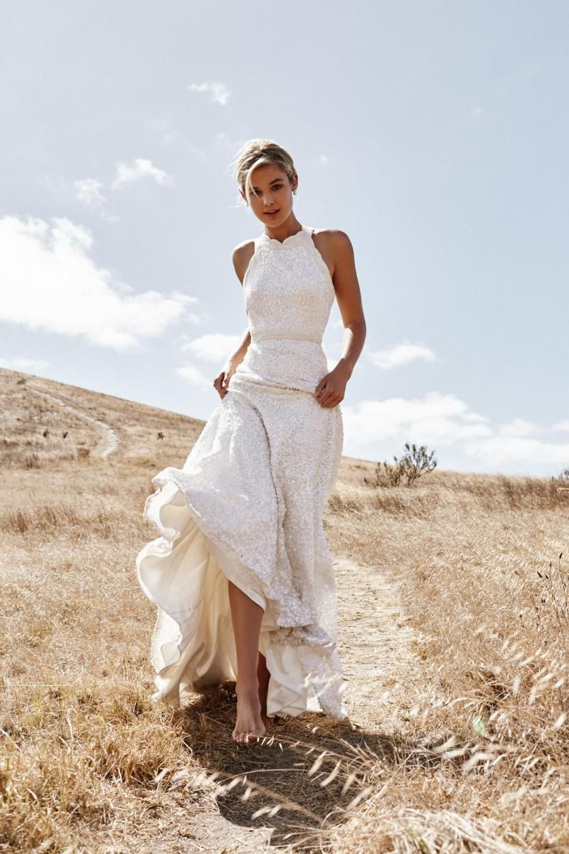The Cindy gown by Karen Willis Holmes, halter neck beaded wedding dress.