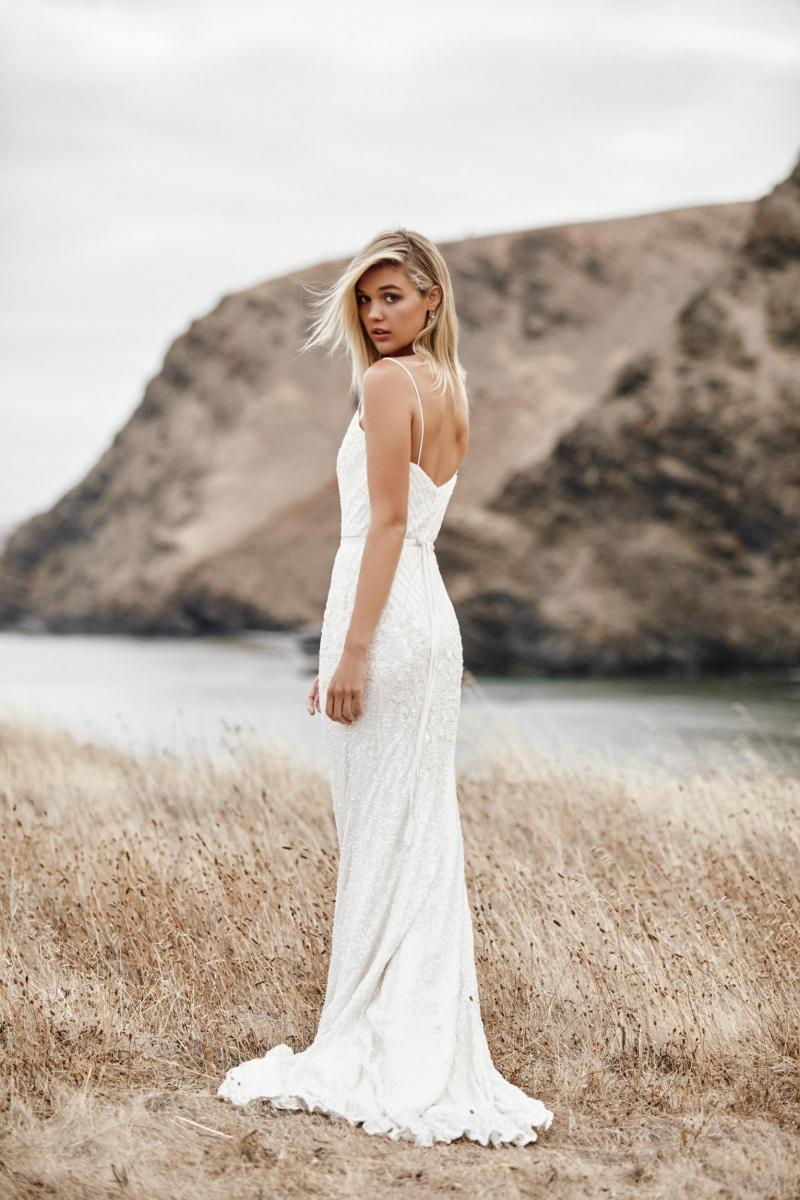 The Darcy gown by Karen Willis Holmes, open back beaded wedding dress.