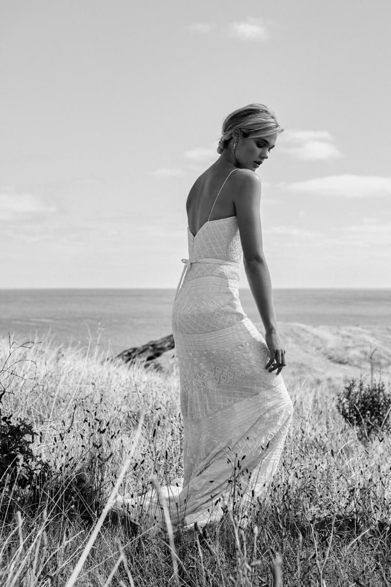 The Donna gown by Karen Willis Holmes, open back beaded wedding dress.