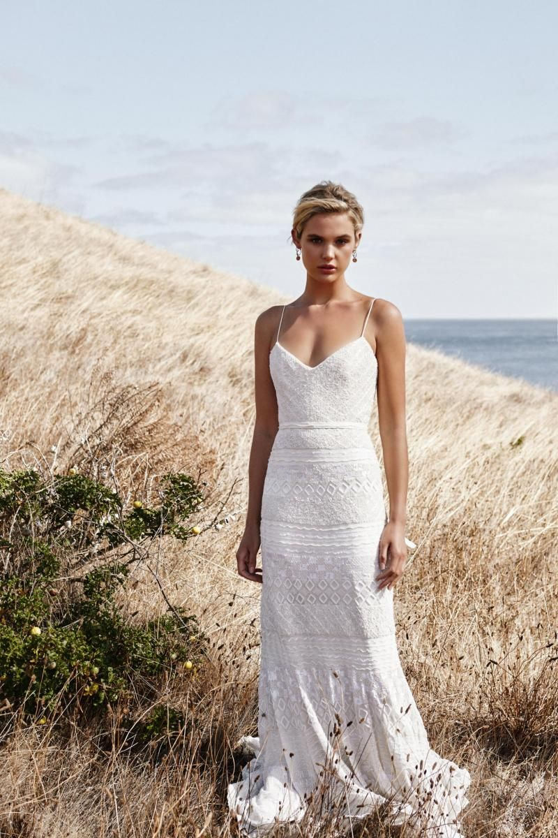 The Donna gown by Karen Willis Holmes, boho beaded wedding dress.
