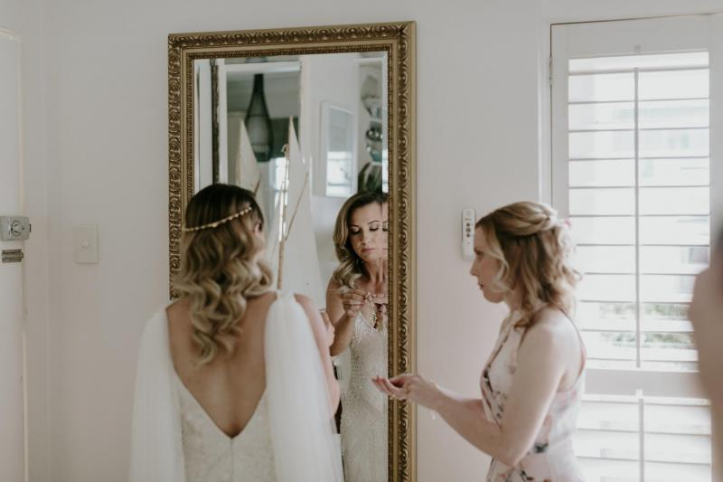 Real bride Renee wore the Fontanne wedding dress from our Luxe collection by Karen Willis Holmes.