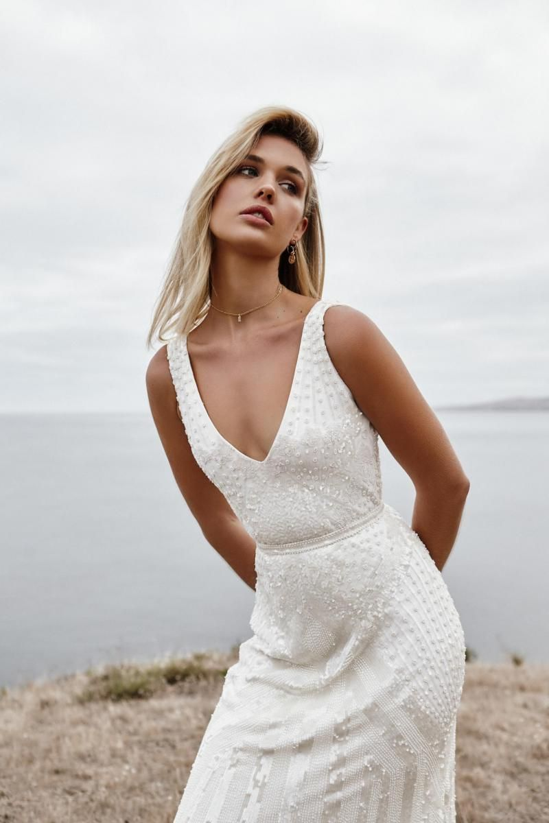 The Fontanne gown by Karen Willis Holmes, v-neck beaded wedding dress.