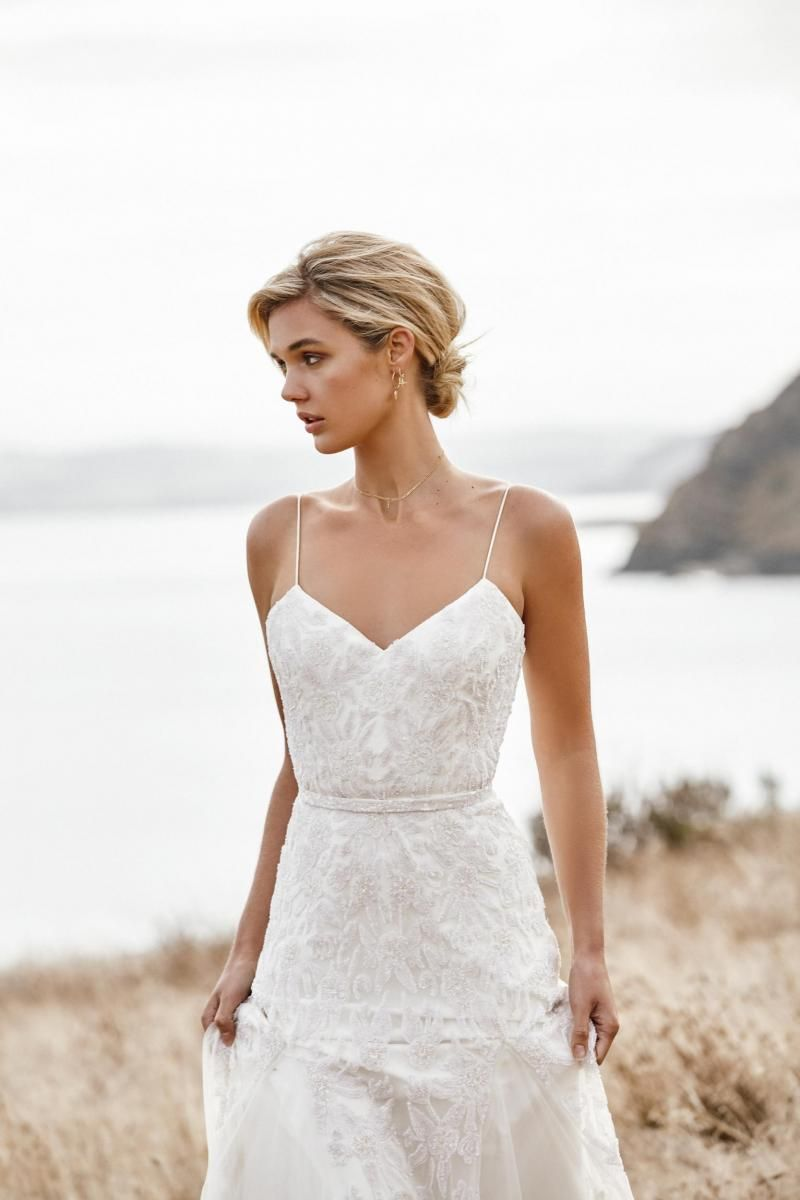 The Freya gown by Karen Willis Holmes, spaghetti strap beaded wedding dress.