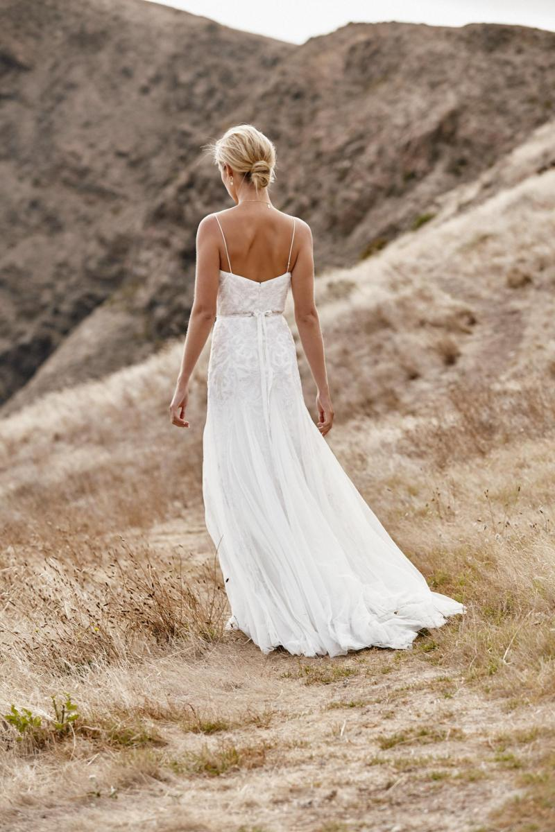 The Freya gown by Karen Willis Holmes, open back beaded wedding dress with soft tulle skirt.