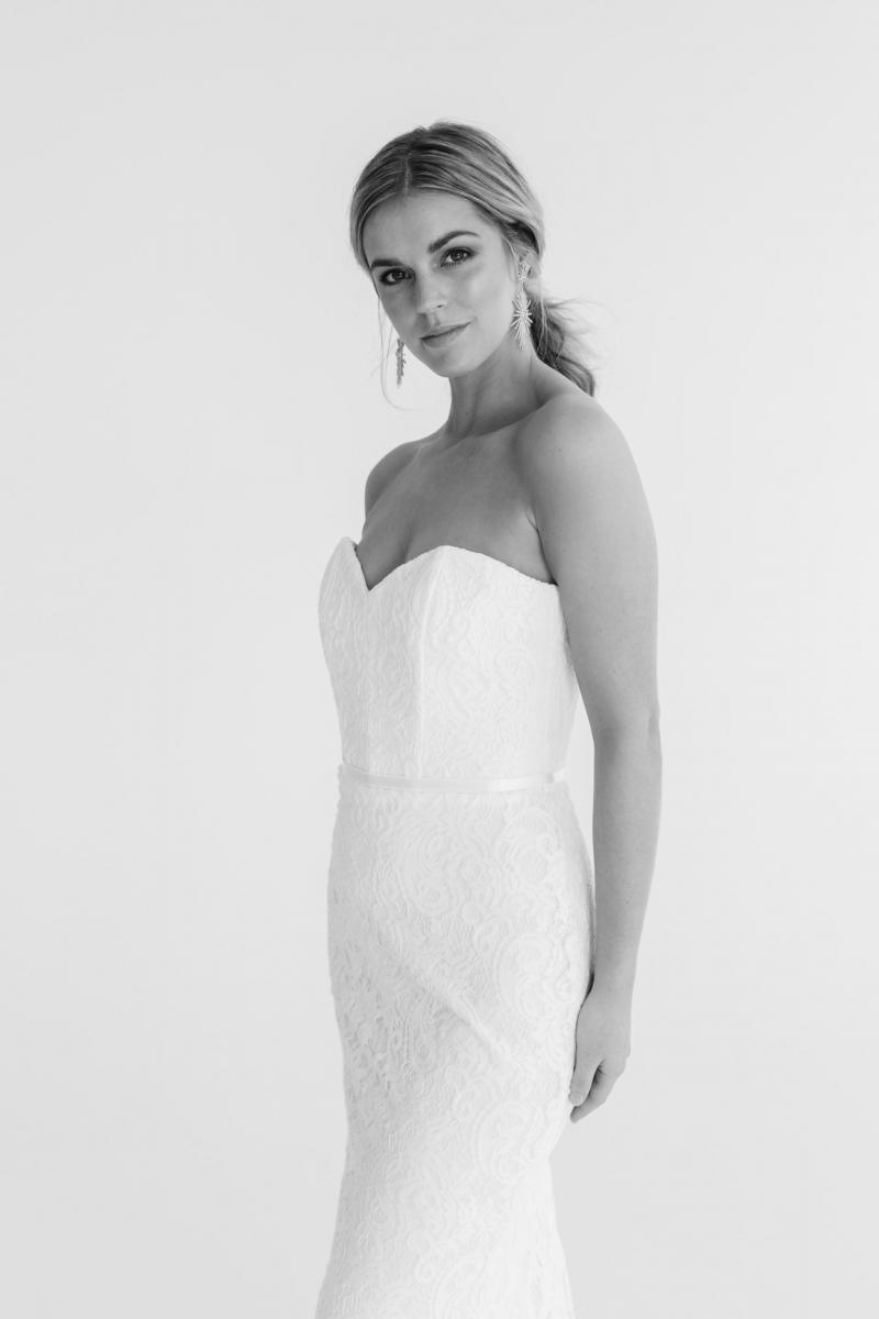 The Greta gown by Karen Willis Holmes, sweetheart lace wedding dress with detachable skirt.
