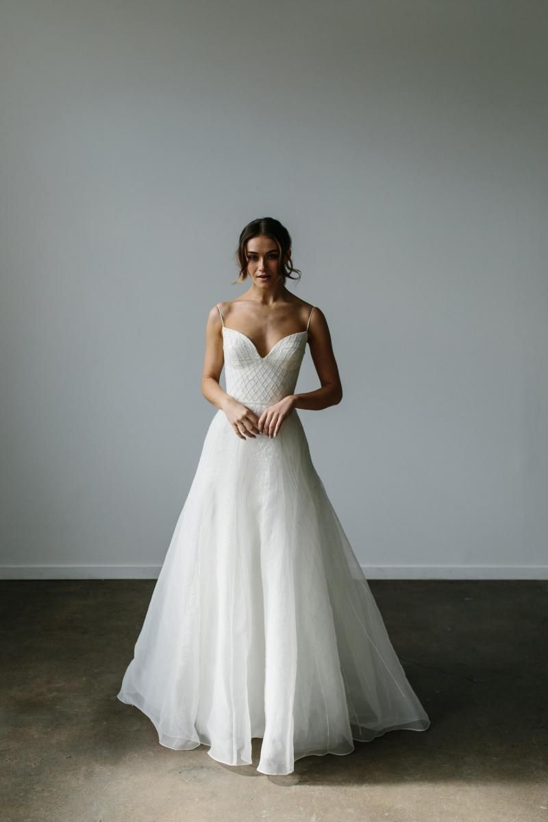 The Annie gown by Karen Willis Holmes, romantic bustier beaded a-line wedding dress.