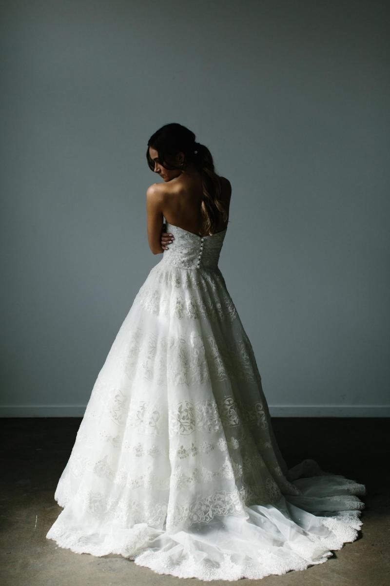 The Francesca gown by Karen Willis Holmes, a-line lace wedding dress.