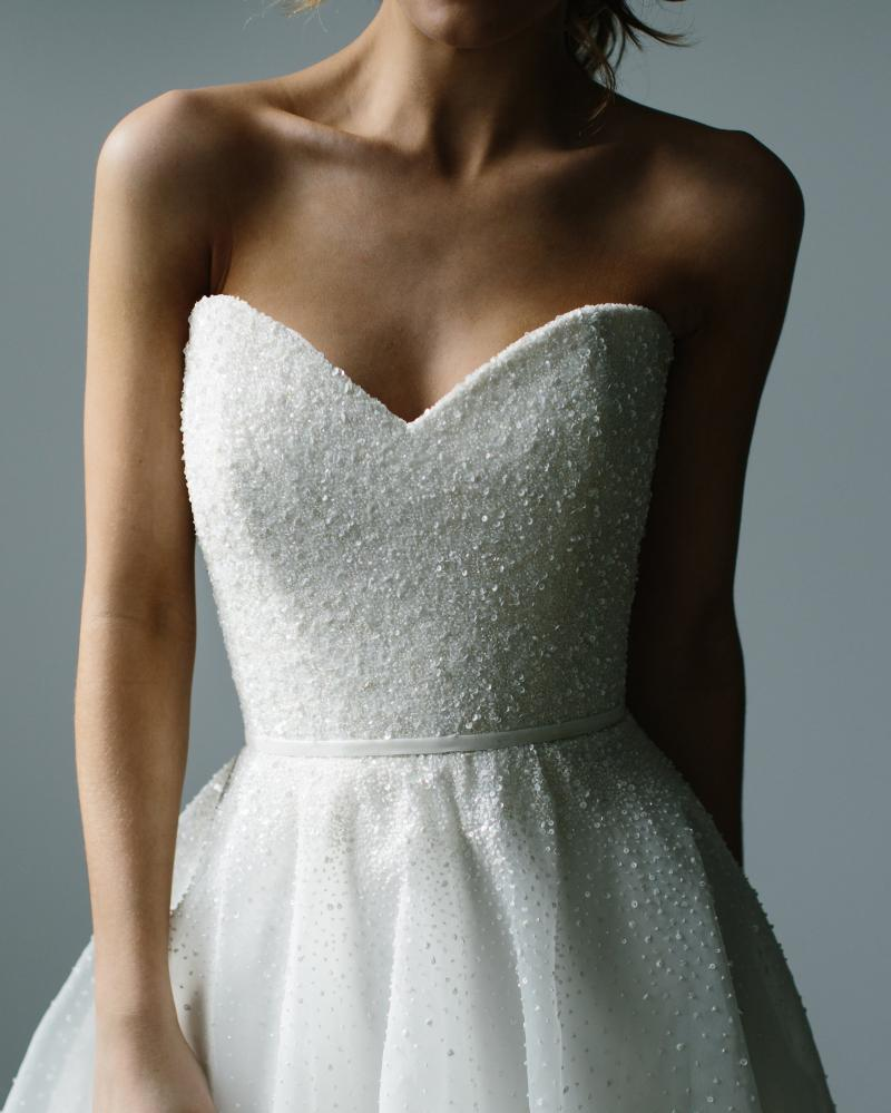 The Jane gown by Karen Willis Holmes, strapless beaded a-line wedding dress.