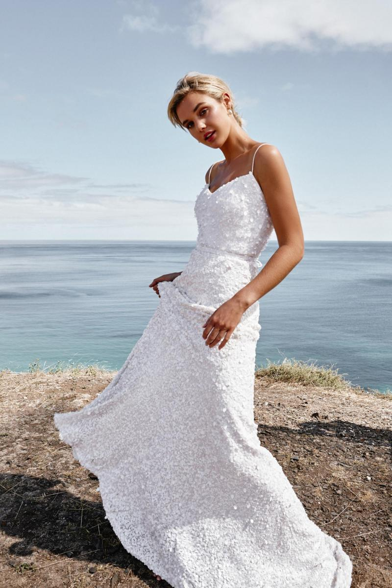 The Anya gown by Karen Willis Holmes, spaghetti strap sequin wedding dress.