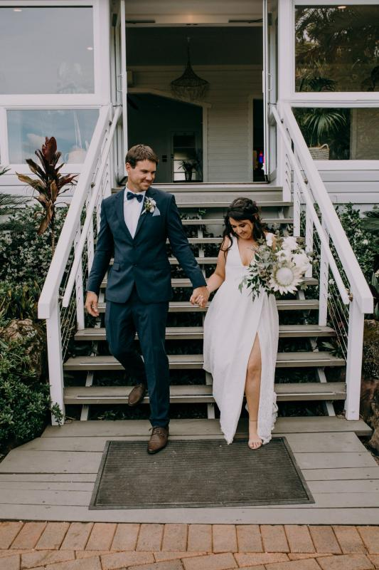 Real bride Bree wore the Wild Hearts Nadia wedding dress by Karen Willis Holmes.