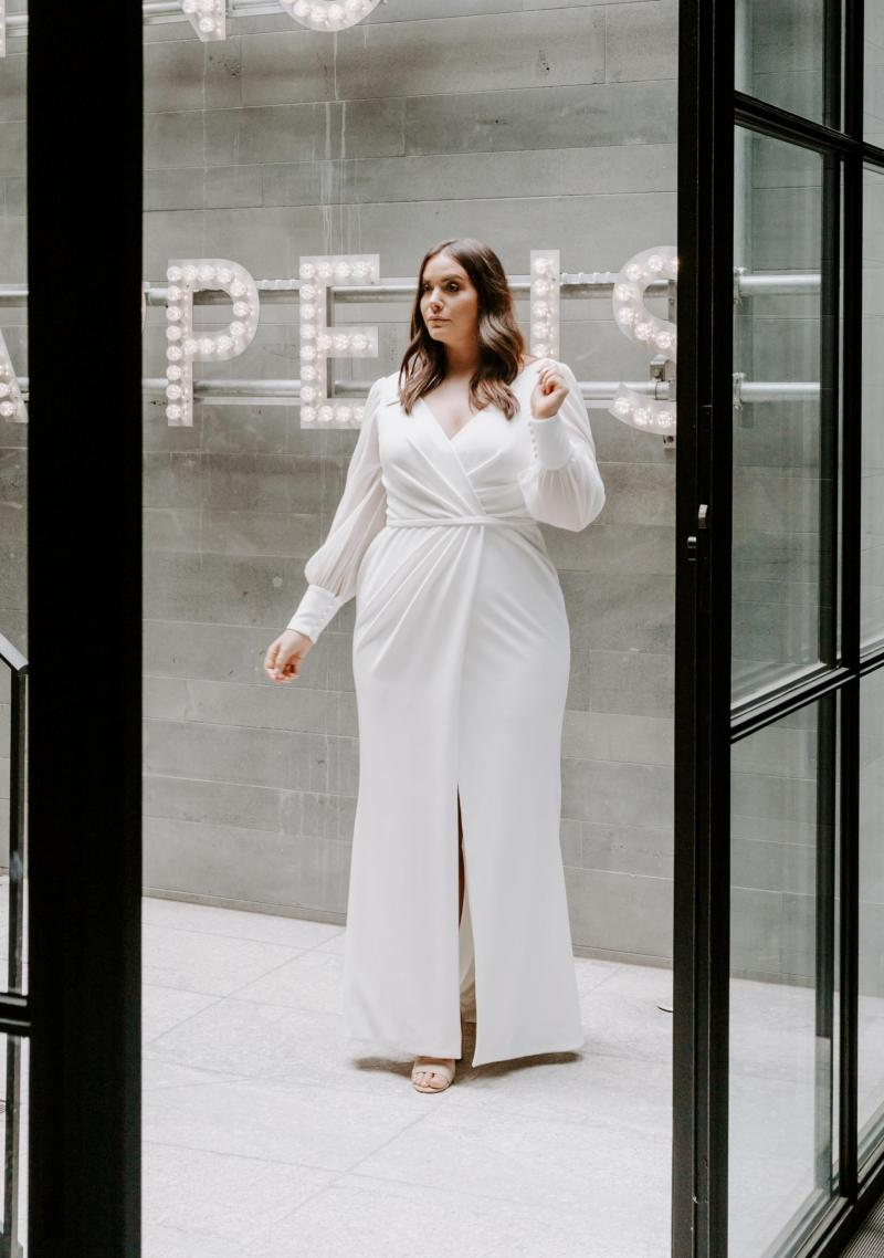 The Nikki Curve gown by Karen Willis Holmes, simple plus size wrap wedding dress.