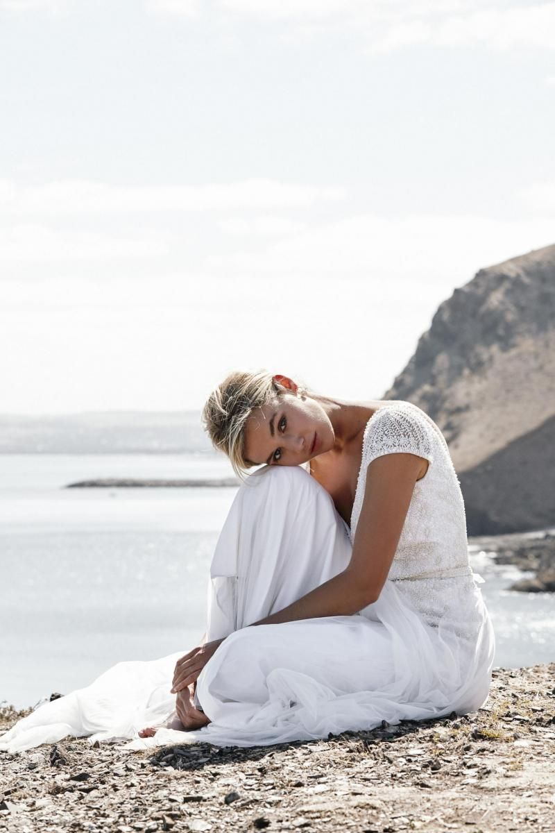 The Valeria gown by Karen Willis Holmes, soft romantic beaded wedding dress.