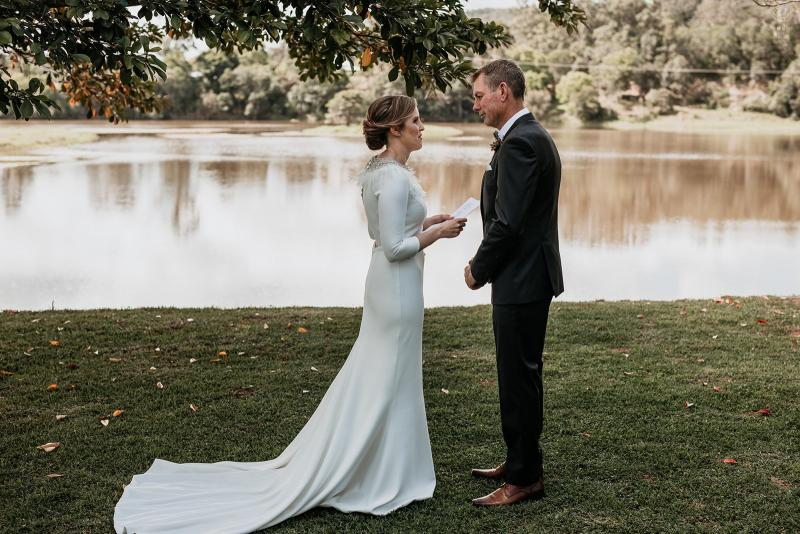 Real bride Lauren wore the Wild Hearts Paris wedding dress by Karen Willis Holmes.
