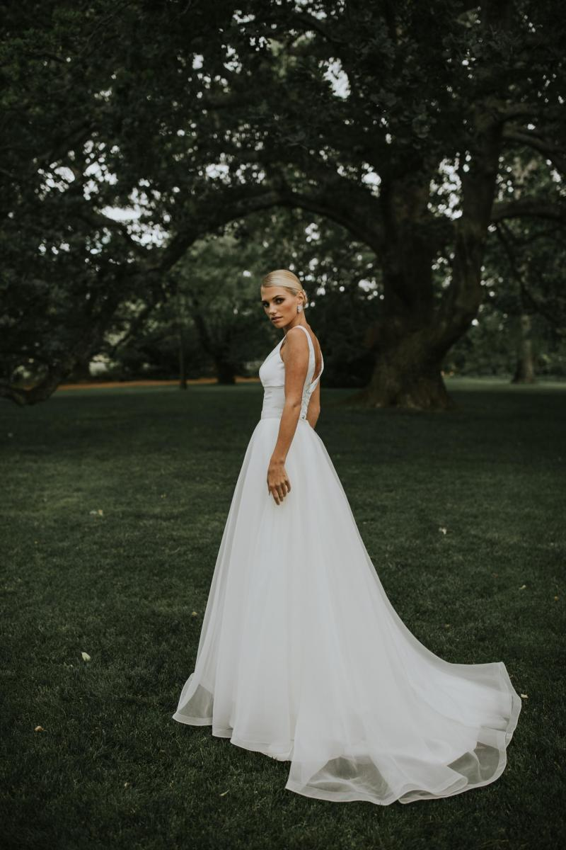 The Taryn Joni gown by Karen Willis Holmes, modern a-line simple wedding dress.
