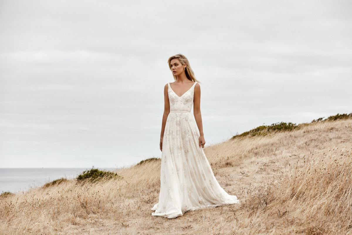 The Beatrice gown by Karen Willis Holmes, a-line beaded wedding dress.