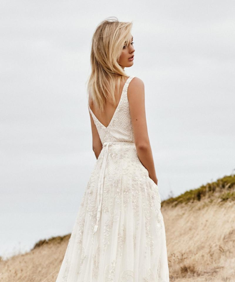 The Beatrice gown by Karen Willis Holmes, open back a-line wedding dress.