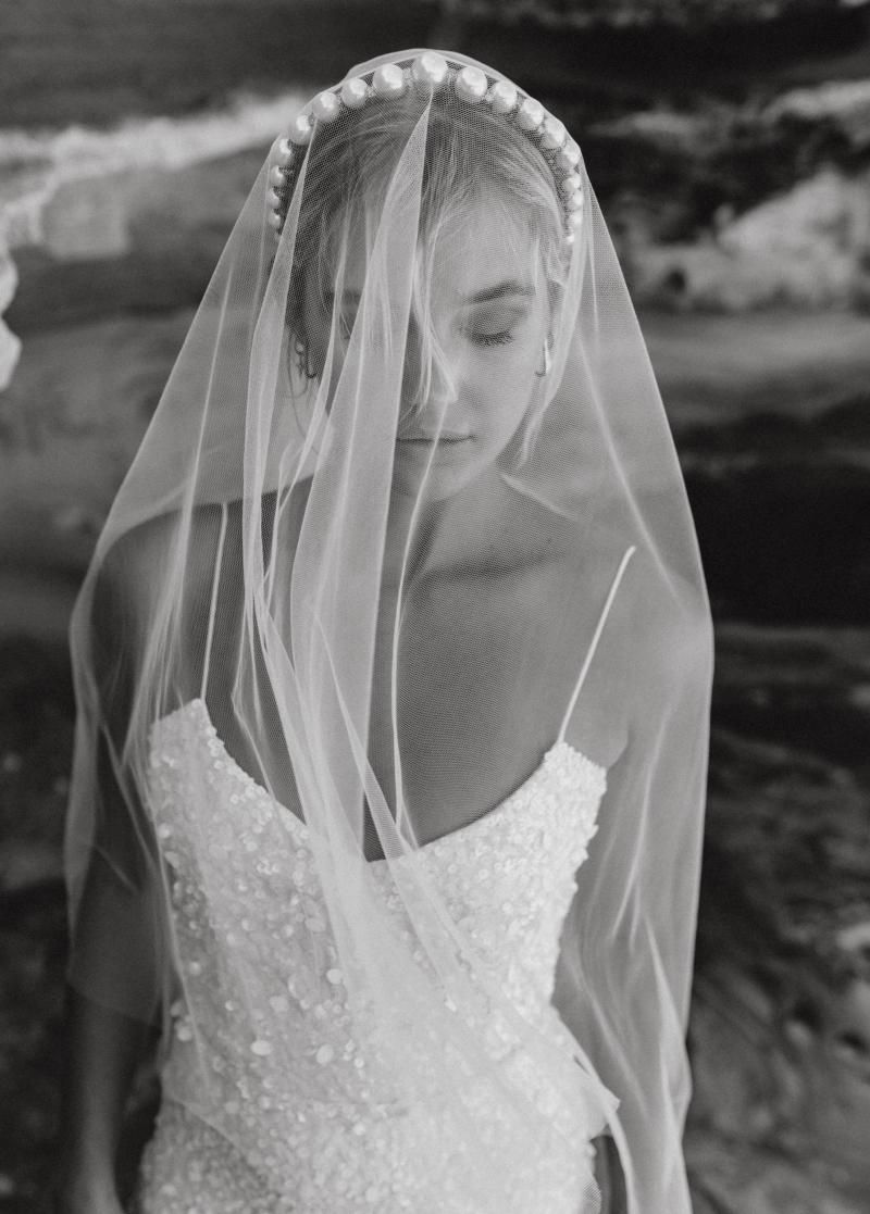 The Claude Veil by Karen Willis Holmes, simple cathedral wedding veil.