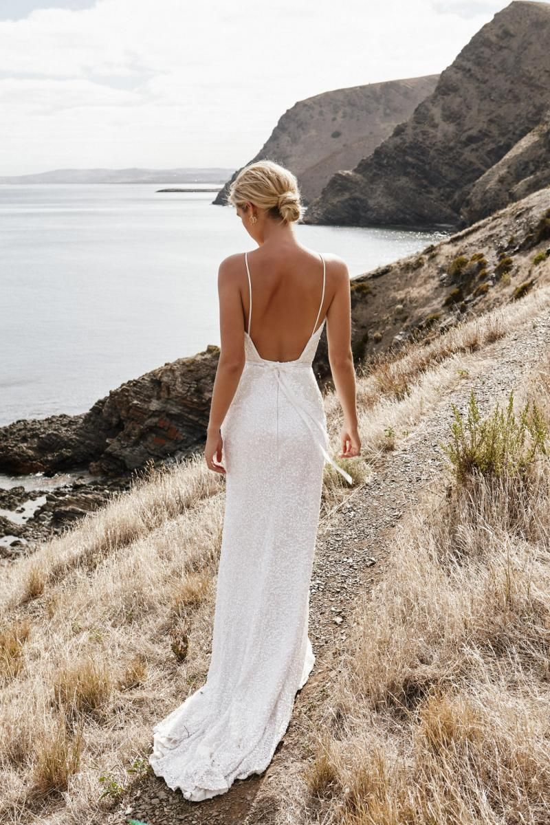 The Roxy gown by Karen Willis Holmes, backless beaded fit and flare wedding dress.