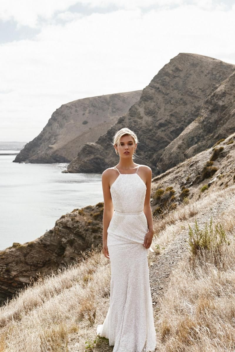 The Roxy gown by Karen Willis Holmes, beaded halter fit and flare wedding dress.
