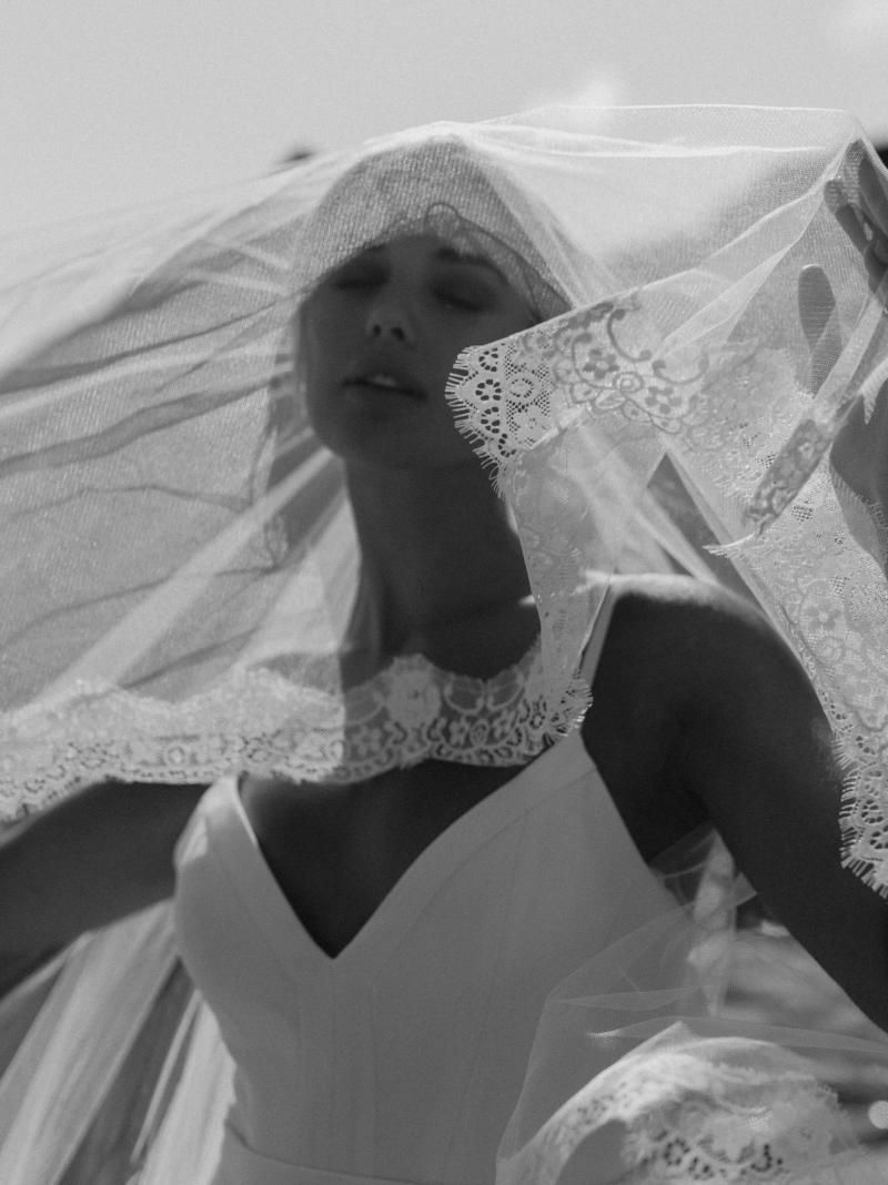 The Auriella Veil by Karen Willis Holmes, traditional lace wedding veil.