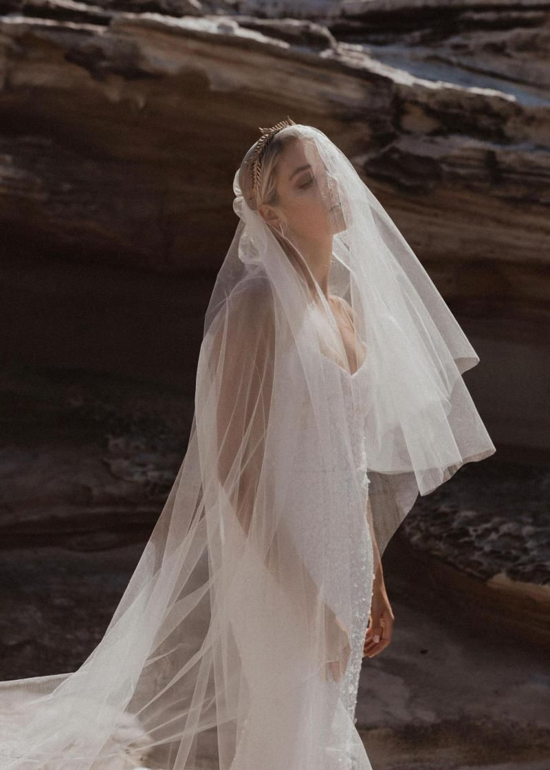 The Honor Veil by Karen Willis Holmes, glitter cathedral wedding veil.