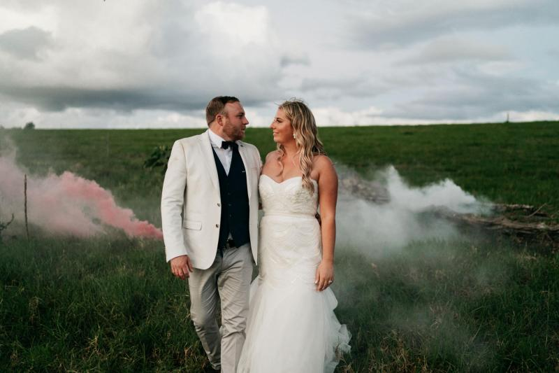 Real bride Carlen wore the Bespoke Ophelia wedding dress by Karen Willis Holmes.
