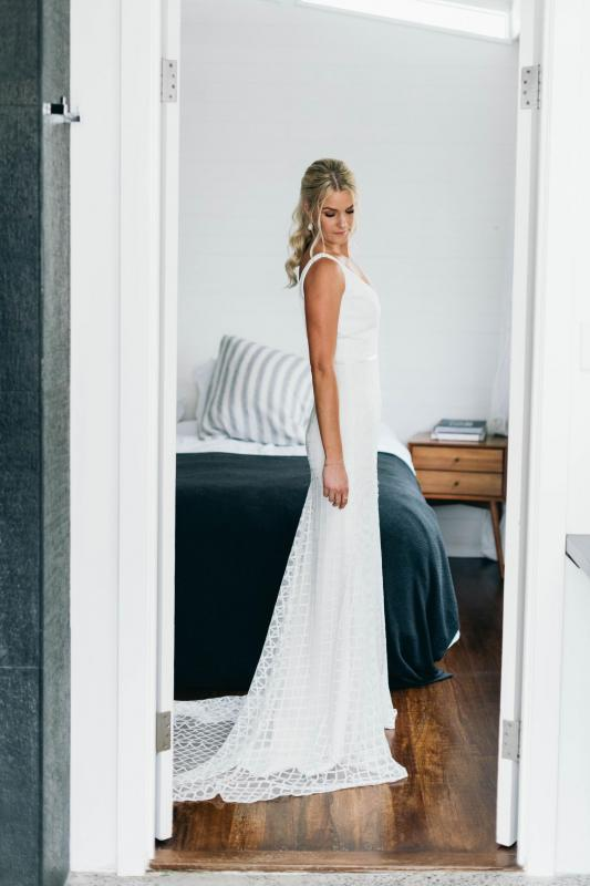 Real bride Melia wore the Wild Hearts Bobby wedding dress by Karen Willis Holmes.