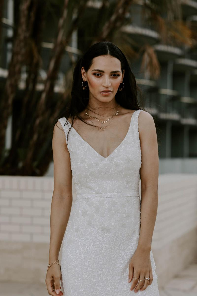 The Georgina gown by Karen Willis Holmes, v-neck beaded fit and flare wedding dress.