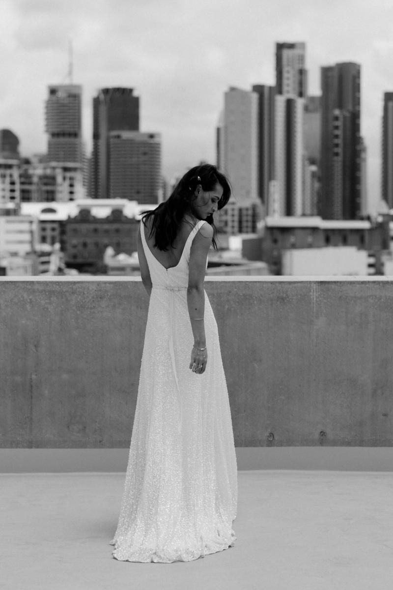 The Lotus gown by Karen Willis Holmes, open back beaded wedding dress.