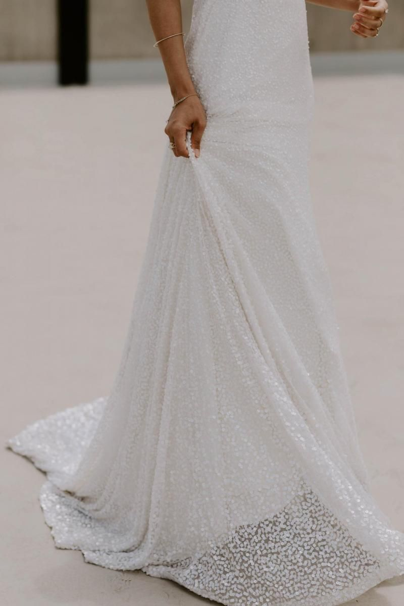 The Lotus gown by Karen Willis Holmes, beaded a-line wedding dress.