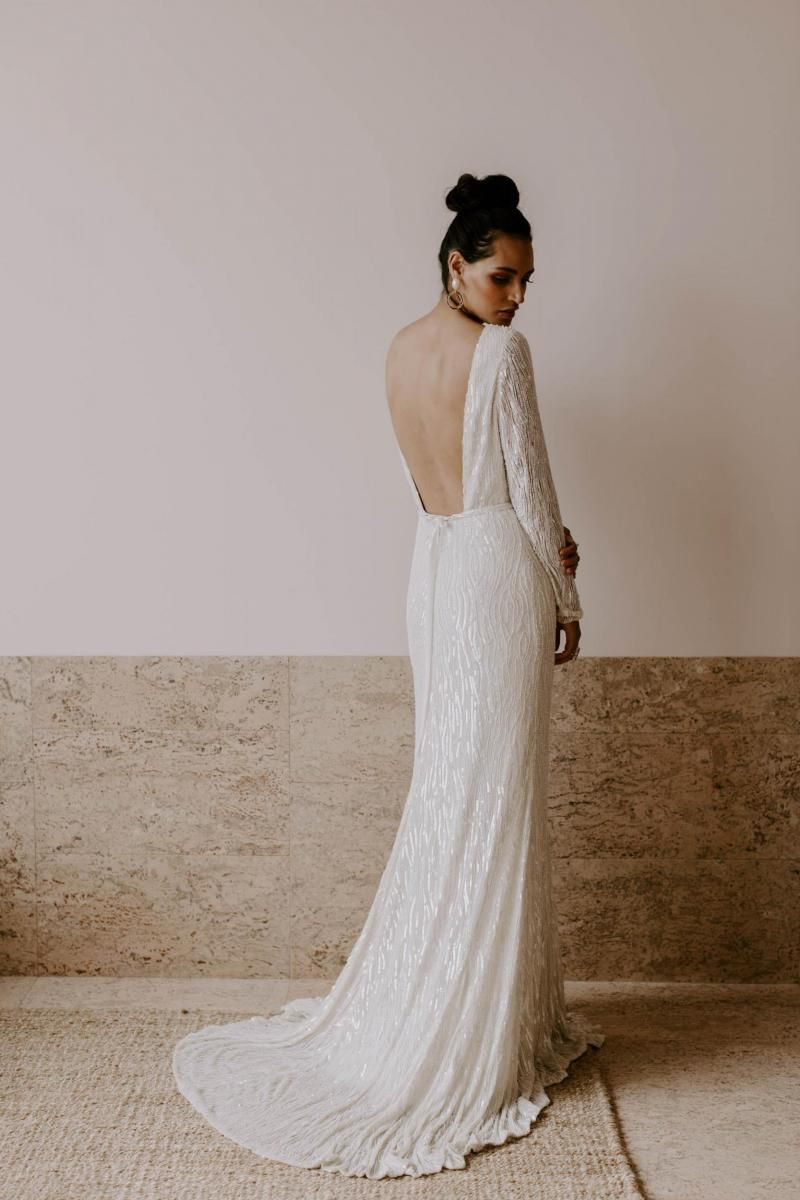 The Margareta gown by Karen Willis Holmes, open back long sleeve wedding dress.