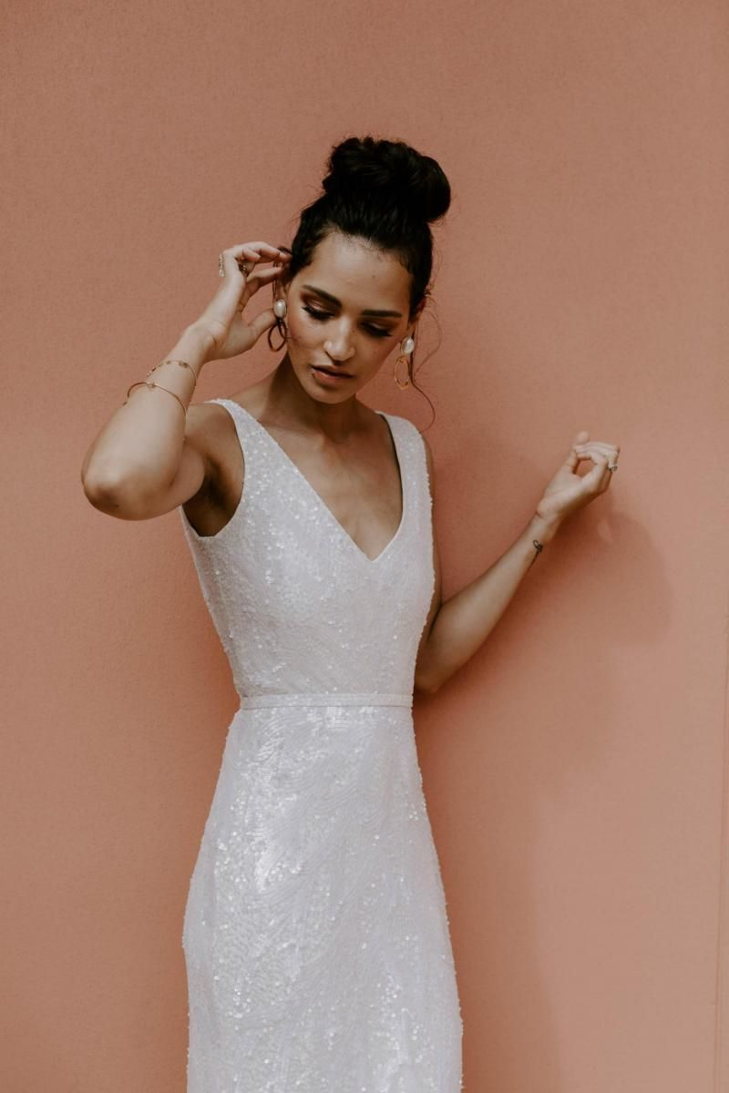 The Rhiannon gown by Karen Willis Holmes, v-neck sequin wedding dress.