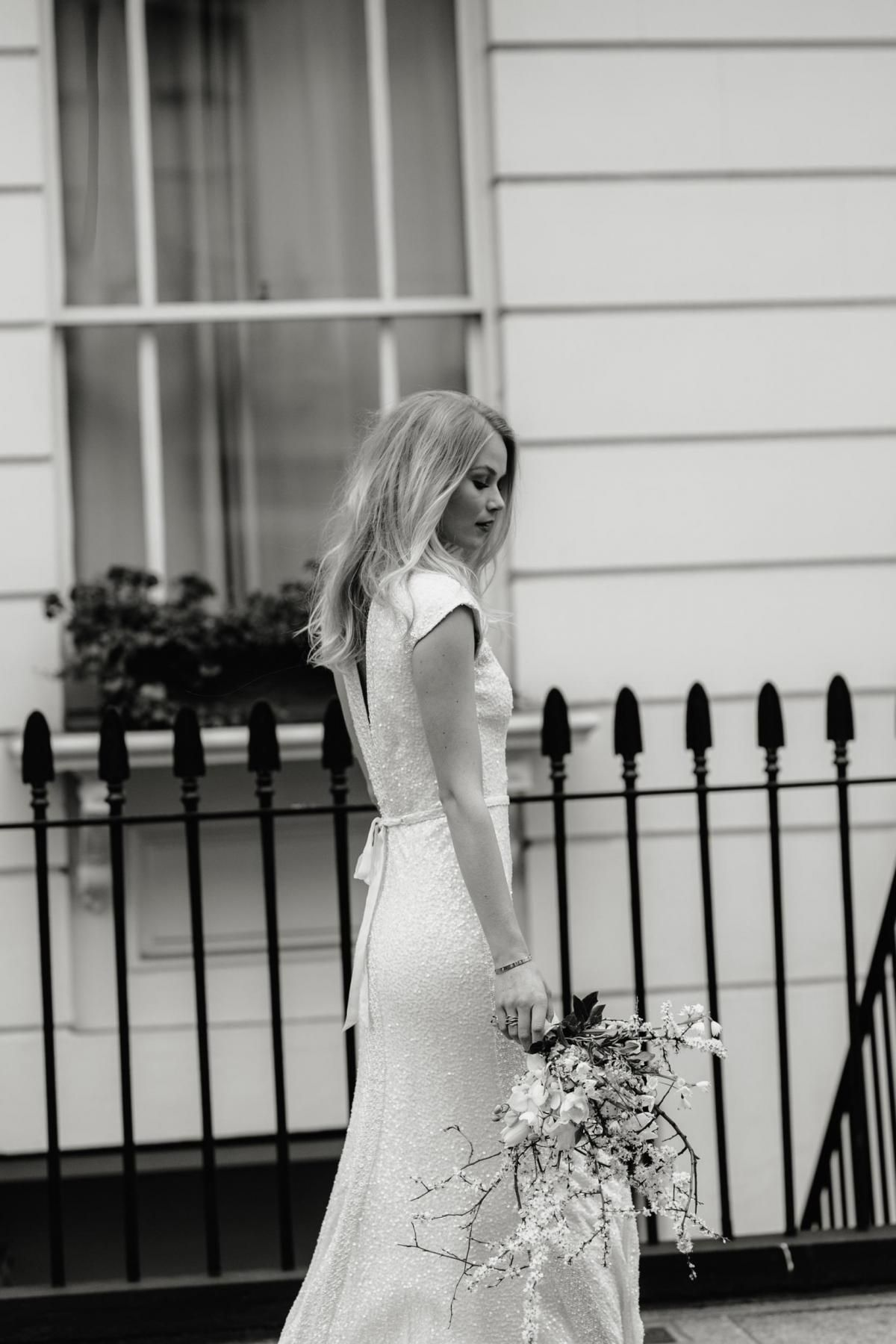 The Annette gown by Karen Willis Holmes, shimmer fit and flare wedding dress.
