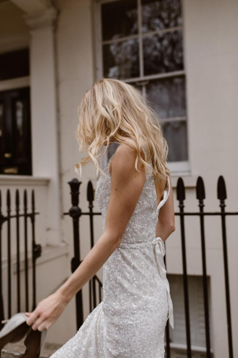 The Georgina gown by Karen Willis Holmes, fit and flare beaded wedding dress.