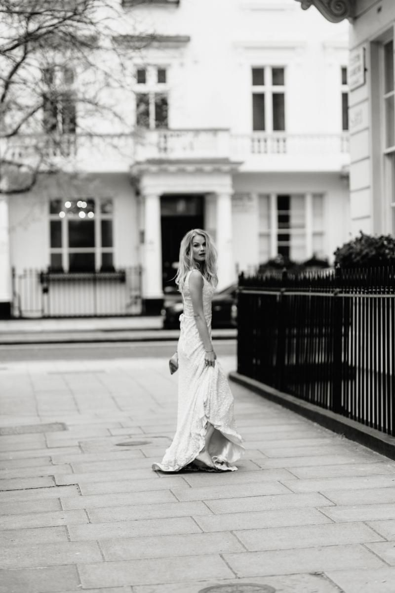 The Georgina gown by Karen Willis Holmes, fit and flare sequin wedding dress.