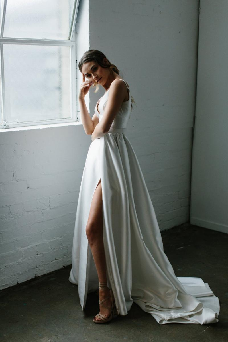 The Taryn Camille gown by Karen Willis Holmes, simple modern a-line customizable wedding dress.