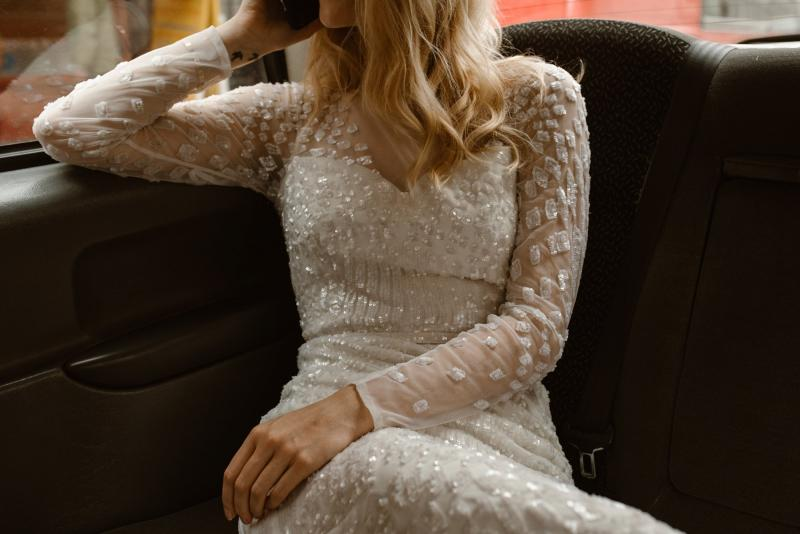 The Lexie gown by Karen Willis Holmes, open back fit and flare wedding dress.