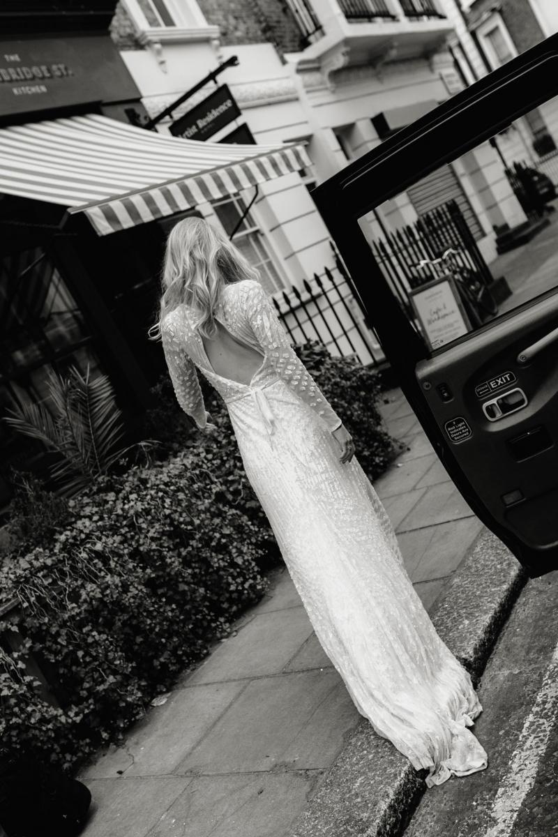 The Lexie gown by Karen Willis Holmes, open back sequin wedding dress.