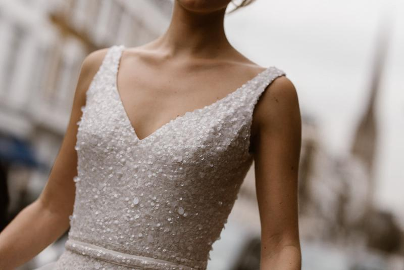 The Lola gown by Karen Willis Holmes, modern v-neck sequin wedding dress.