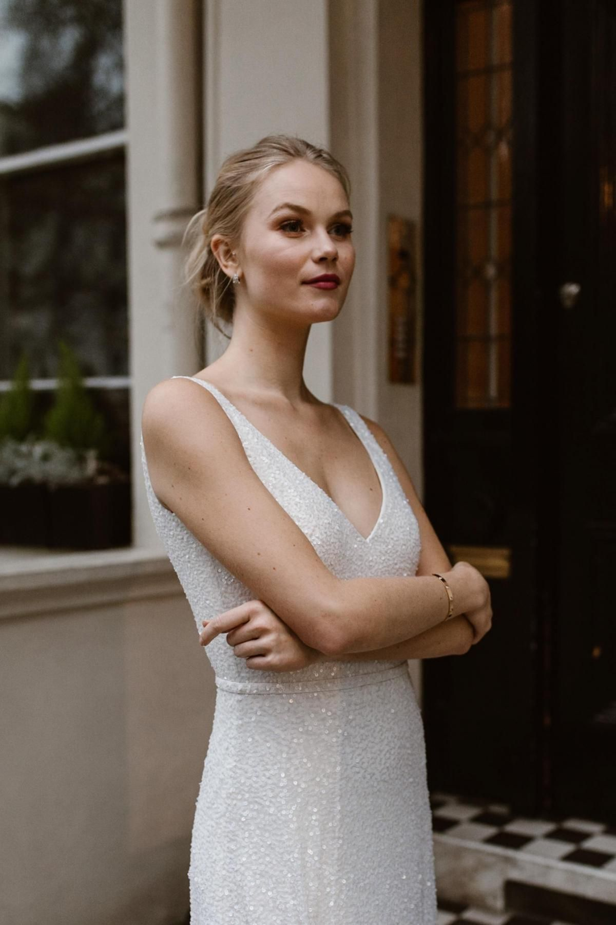 The Lotus gown by Karen Willis Holmes, v-neck sparkly wedding dress.